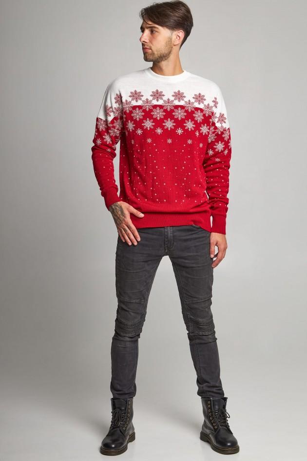 Новорічні светри для двох сніжинка червоний