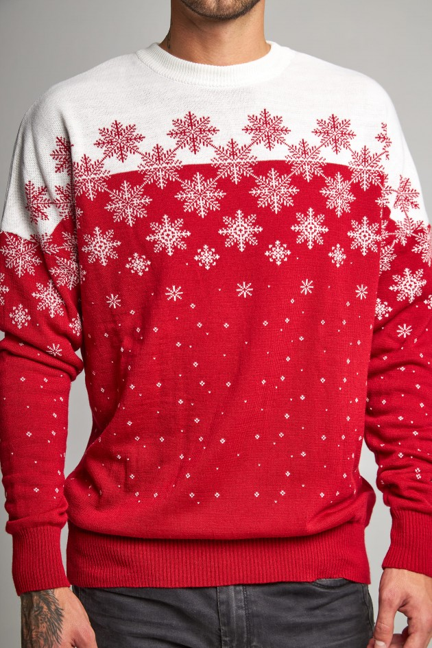 Новорічний в'язаний светр з зірками 1
