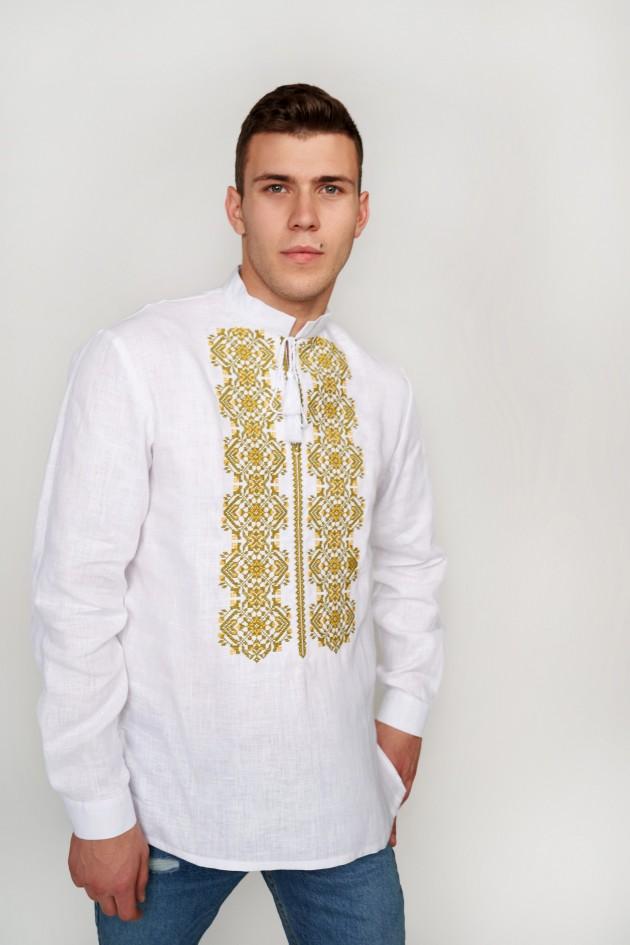 Чоловіча вишита сорочка біла з китицями