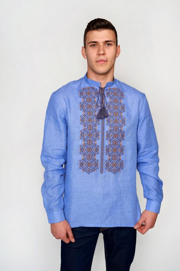 Чоловіча вишита сорочка блакитна з китицями