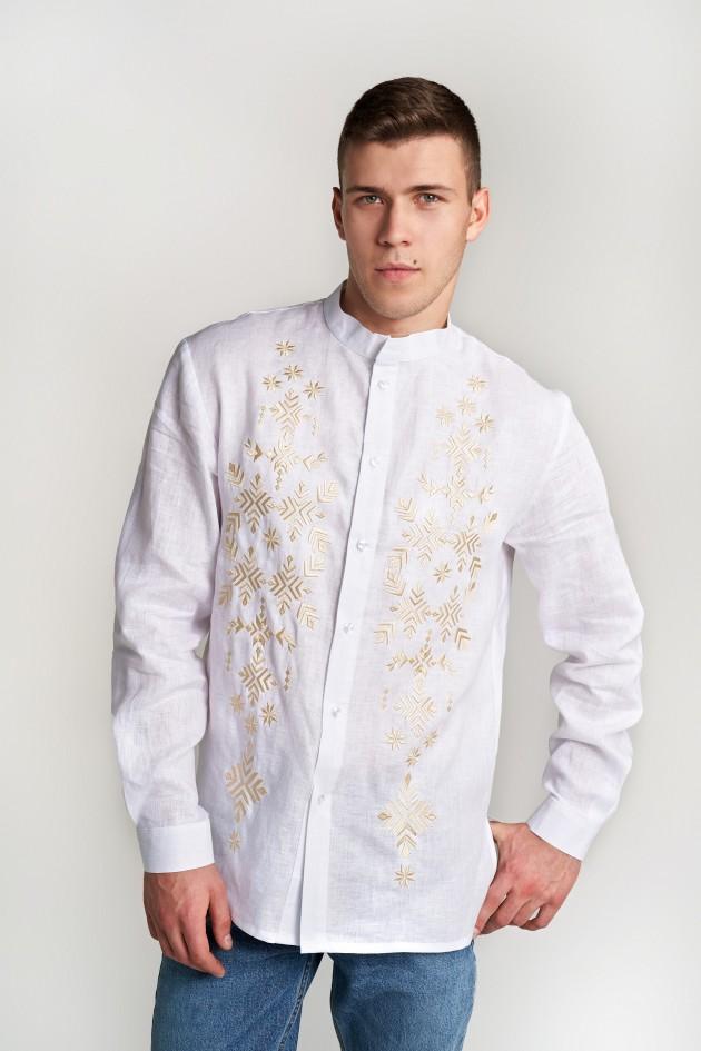 Чоловіча вишита сорочка з настрочними планками біла
