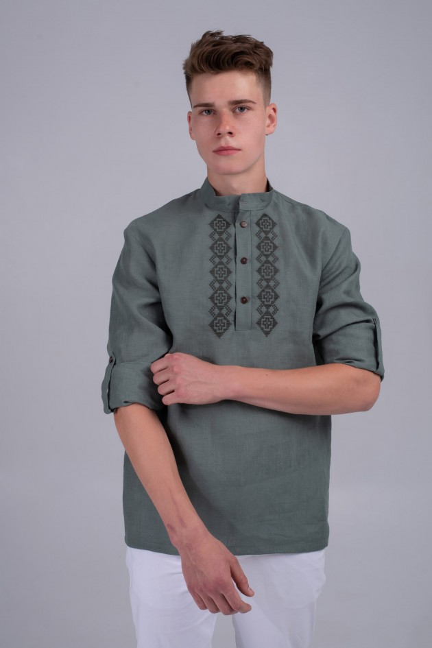 Чоловіча вишита сорочка хакі