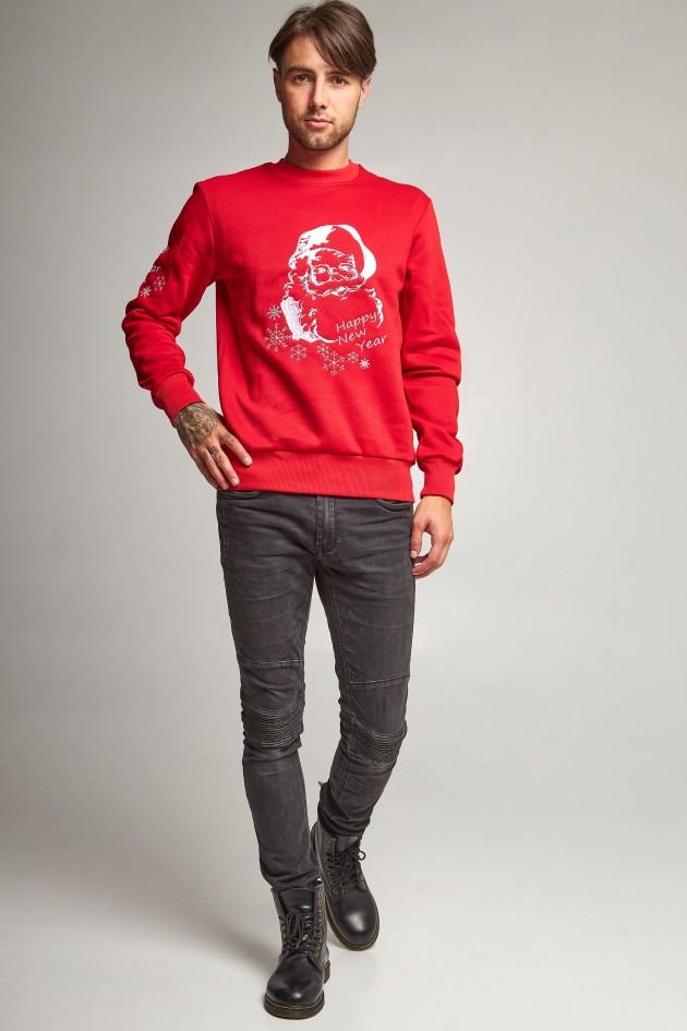 Новорічні светри для двох з Дідом морозом червоні