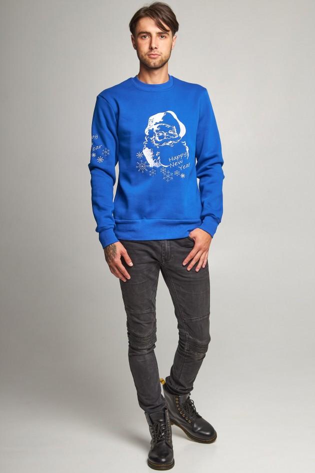 Новорічні светри для двох з Дідом морозом сині