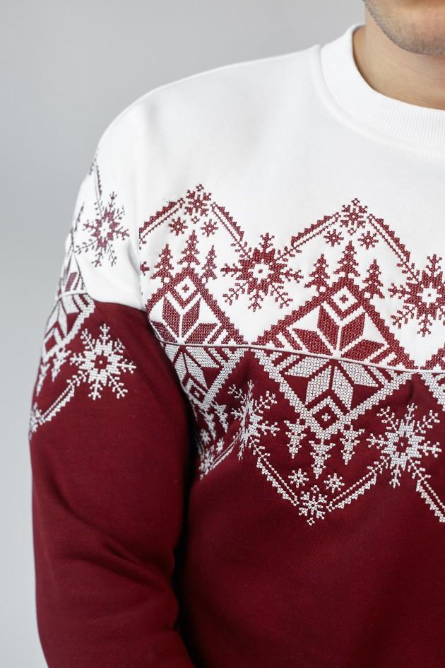 Чоловічий різдвяний світшот Сніжинка Burgundy