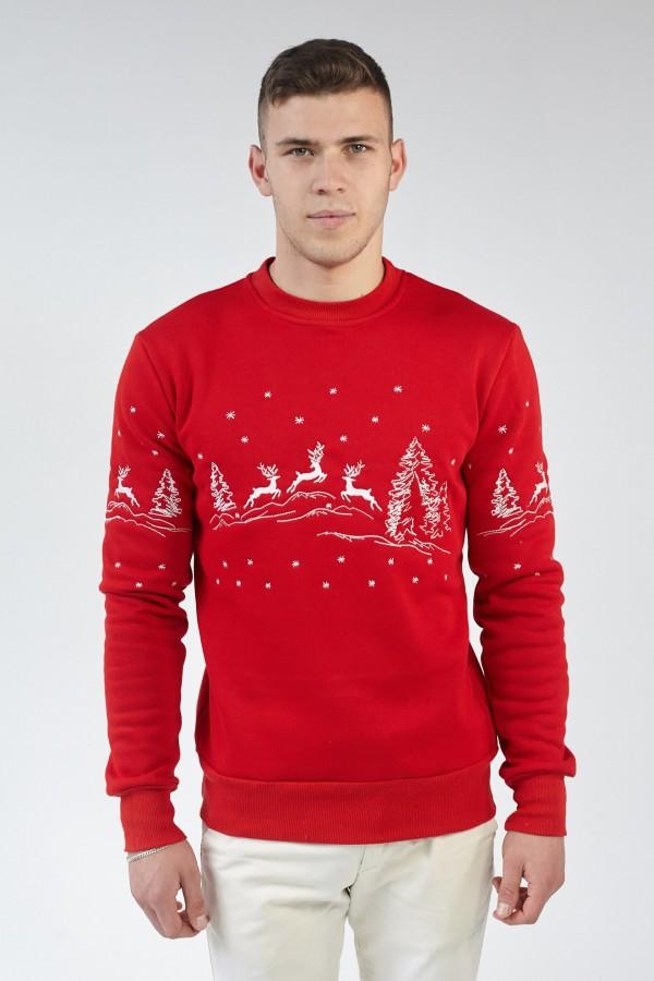 Різдвяний чоловічий світшот Олені Red