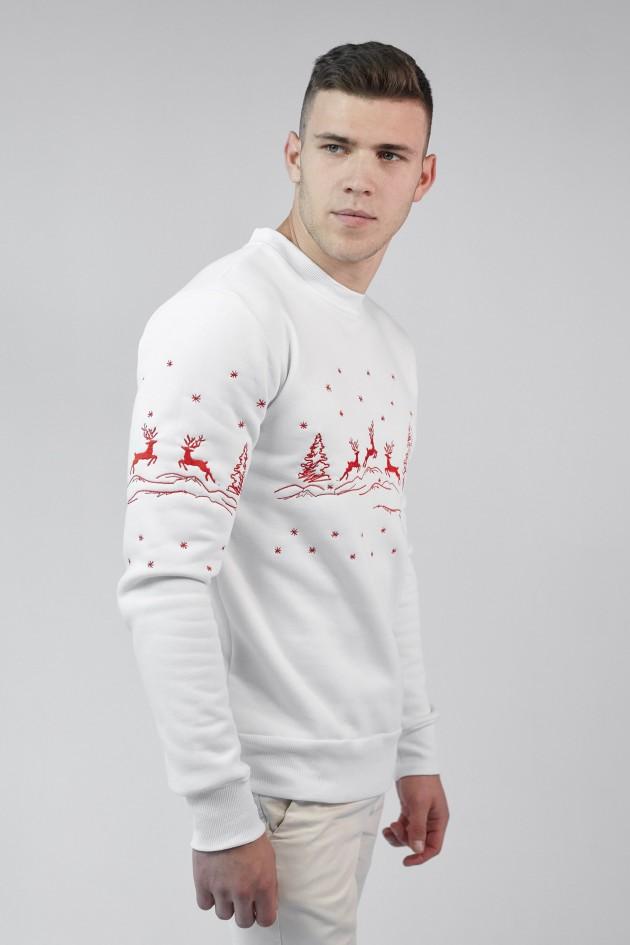 Різдвяний чоловічий світшот з Оленями White