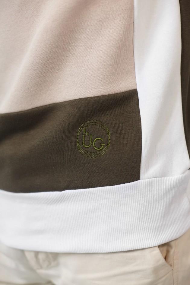 Чоловічий вишитий світшот Khaki+White+Beige