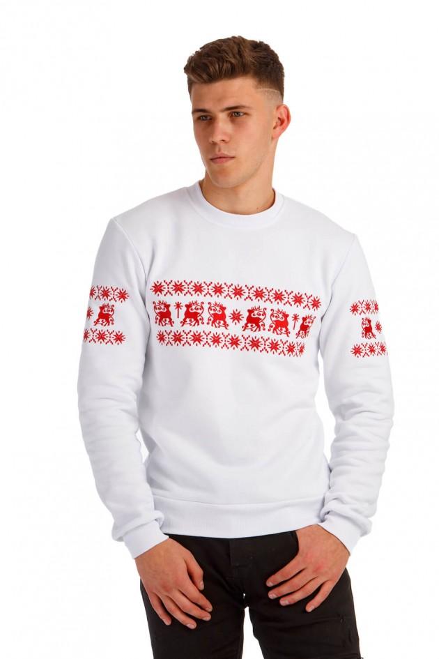Білий різдвяний чоловічий світшот з оленями