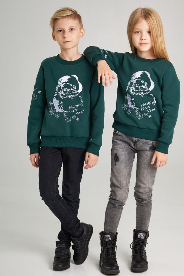 Новорічні дитячі светри для двох з Дідом морозом зелені