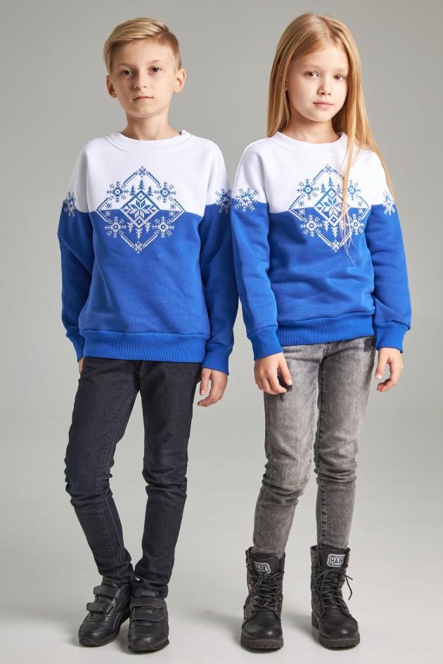 Новорічні дитячі светри для двох Сніжинка сині