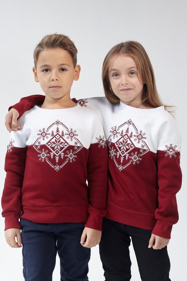 Різдвяний світшот для хлопчика Сніжинка Burgundy