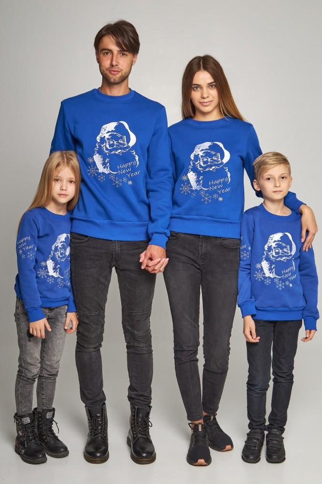 Сімейні різдвяні світшоти з Дідом морозом сині