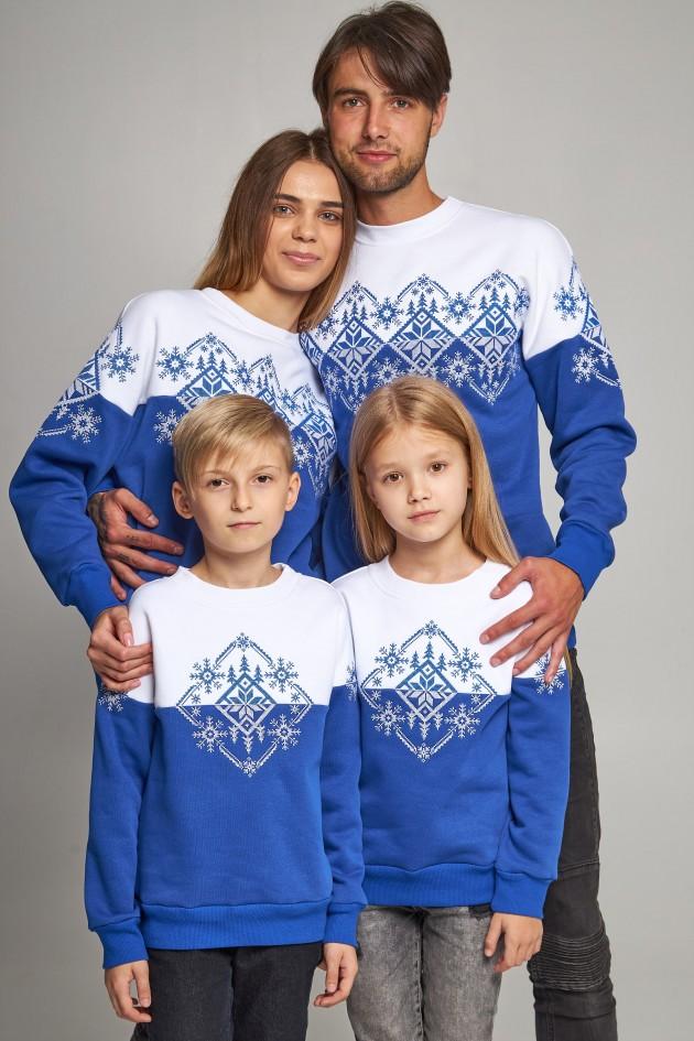 Сімейні різдвяні світшоти Сніжинки сині