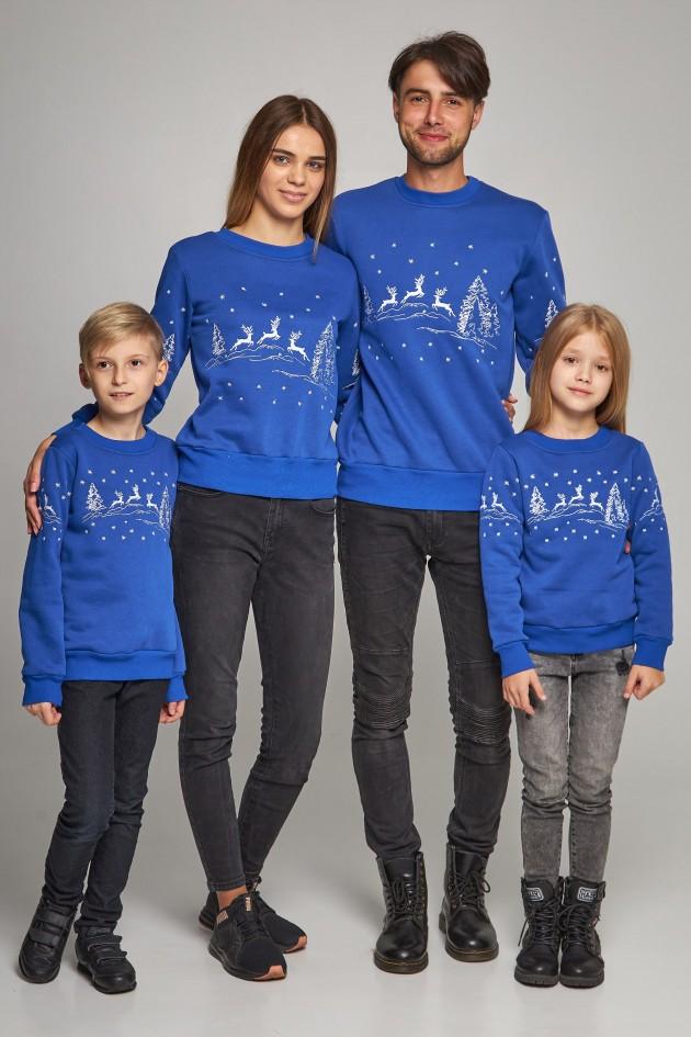 Сімейні різдвяні світшоти з Оленями сині