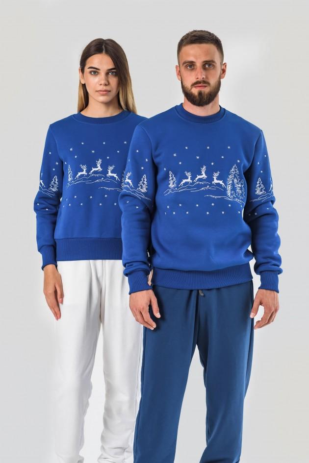 Новорічні светри для двох з оленями електрик