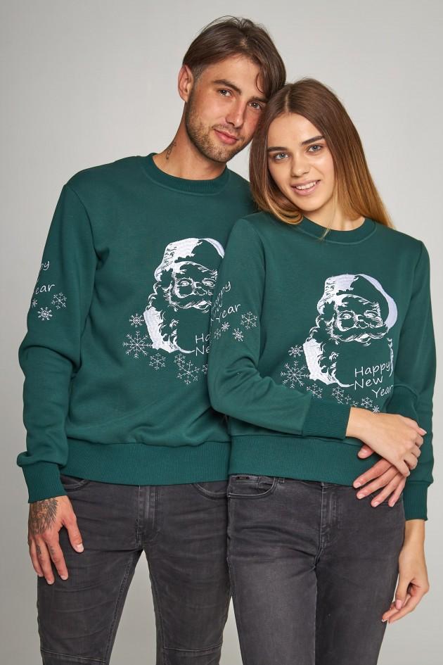 Новорічні светри для двох з Дідом морозом зелені