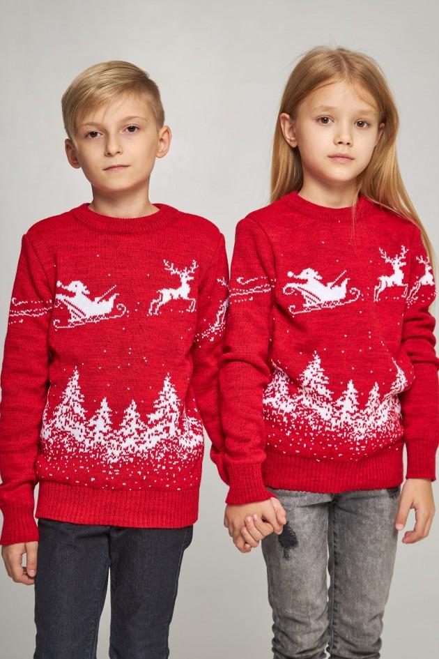 Новорічні в'язані дитячі светри для двох Дід мороз з оленями червоні