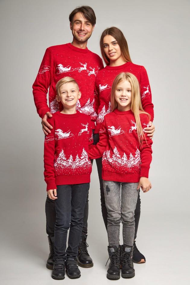 Сімейні в'язані різдвяні светри з Дідом морозом червоний
