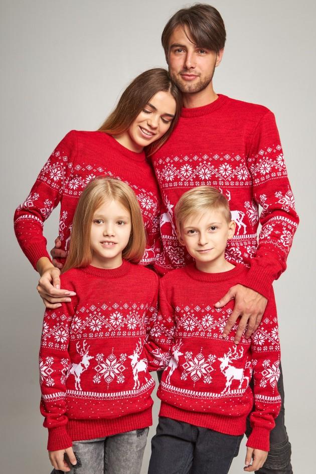 Сімейні в'язані різдвяні светри Сніжинки з оленями червоний