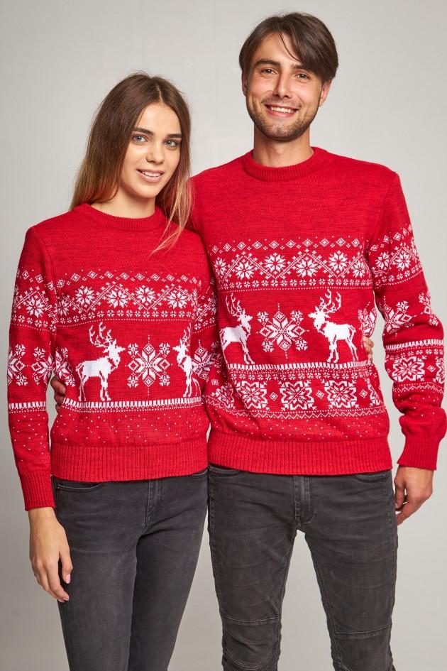 Новорічні светри для двох сніжинка з оленями червоний