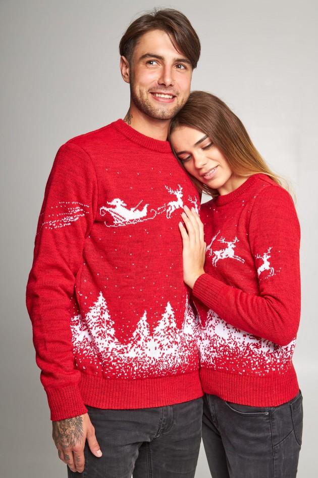 Новорічні светри для двох Дід мороз з оленями червоний