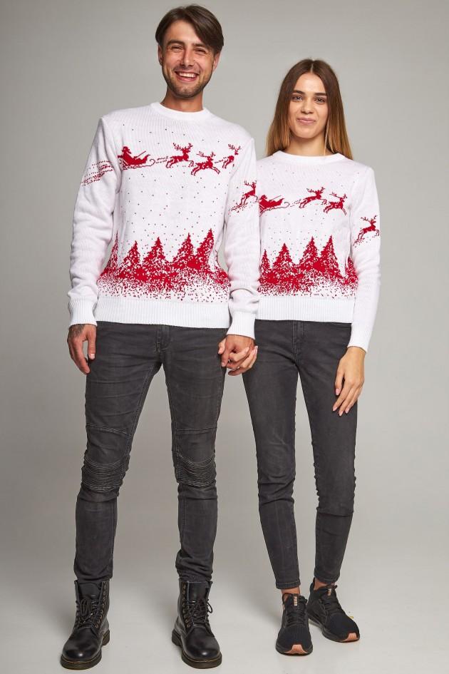 Сімейні в'язані різдвяні светри з Оленями білий