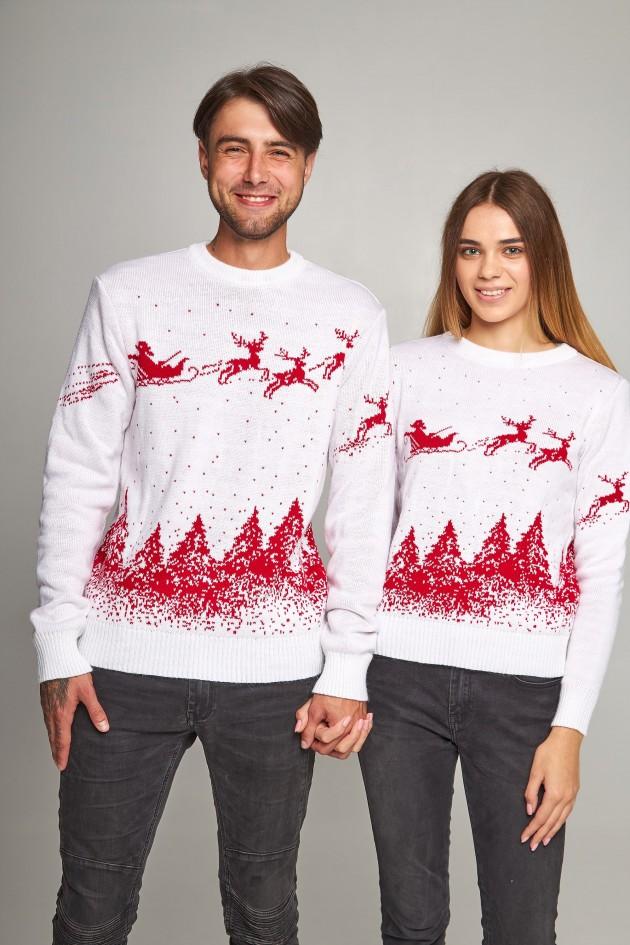 Новорічні светри для двох Дід мороз з оленями білий