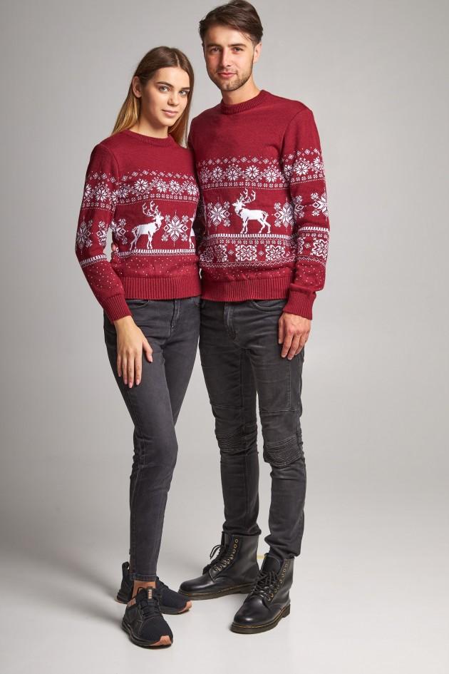 Сімейні в'язані різдвяні светри Сніжинки з оленями бордовий