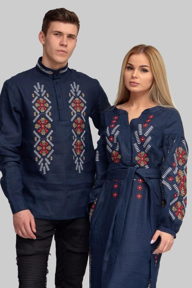 Чоловіча вишита сорочка вишиванка та Жіноча вишита сукня Navy