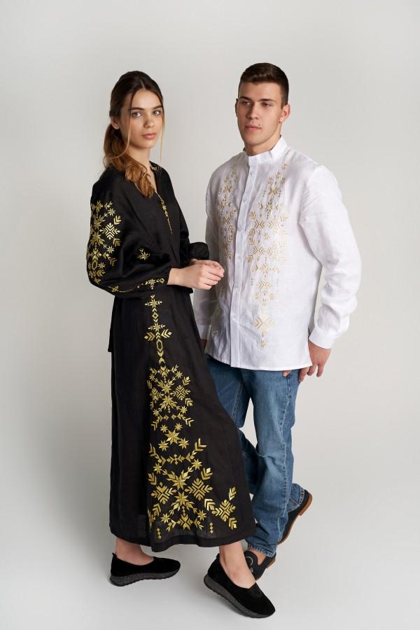 Чоловіча вишита сорочка з настрочними планками та Жіноча вишита сукня Black 4 з золотою вишивкою