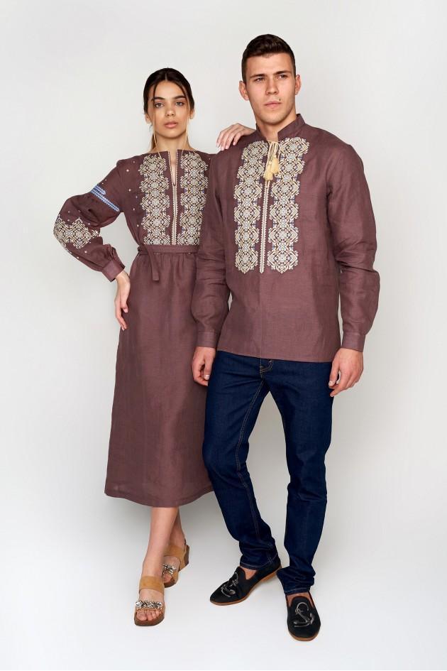 Чоловіча вишита сорочка кавова з китицями та Жіноча вишита сукня Сoffee