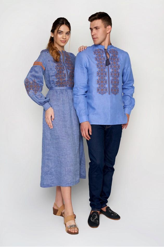 Чоловіча вишита сорочка блакитна з китицями та Жіноча вишита сукня Denim 5