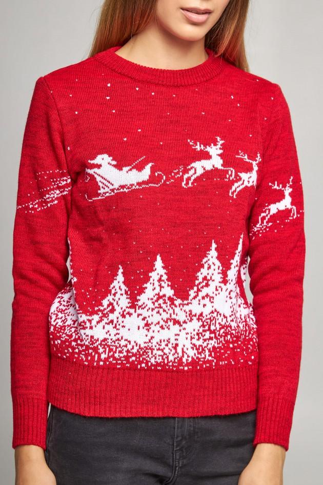 Жіночий в'язаний светр Дід Мороз з оленями червоний
