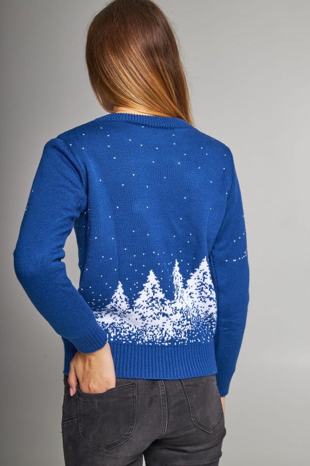 Жіночий в'язаний светр Дід Мороз з оленями синій