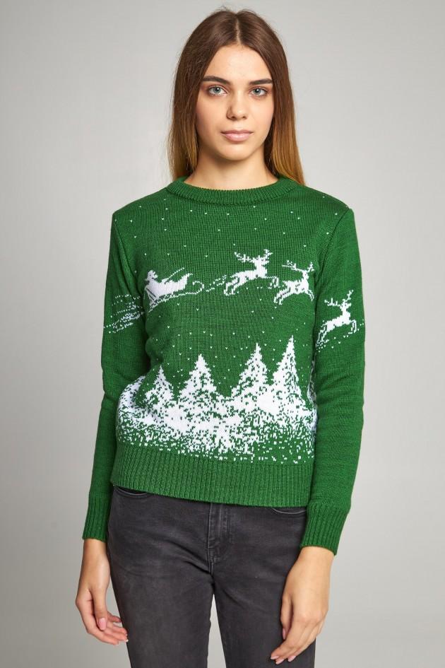 Жіночий в'язаний светр Дід Мороз з оленями зелений