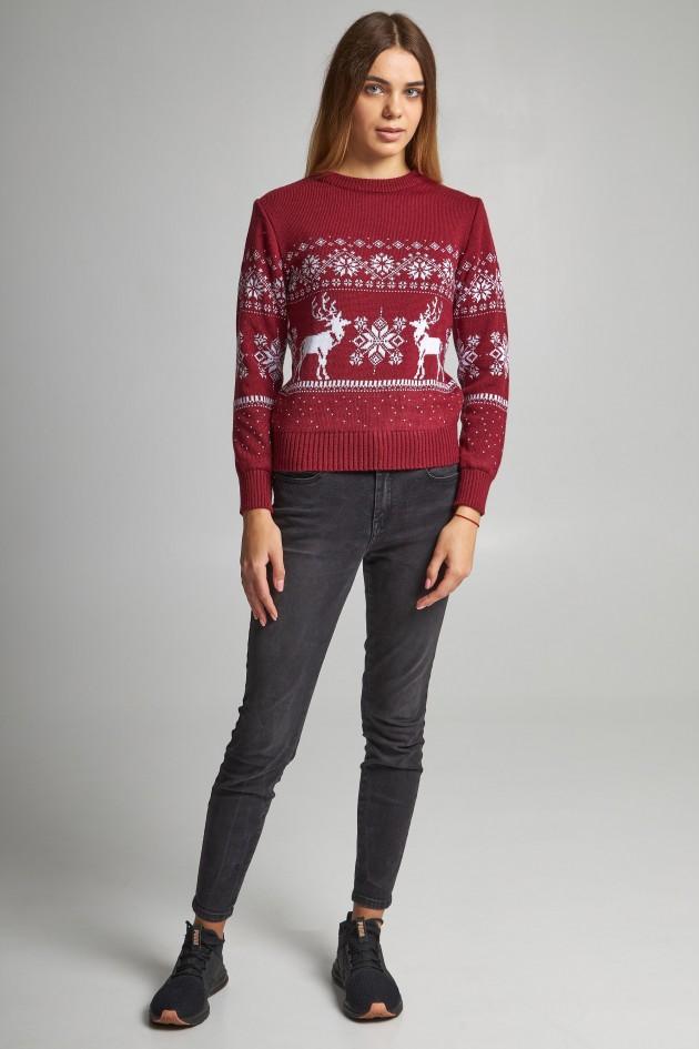 Новорічні светри для двох Дід мороз з оленями бордовий