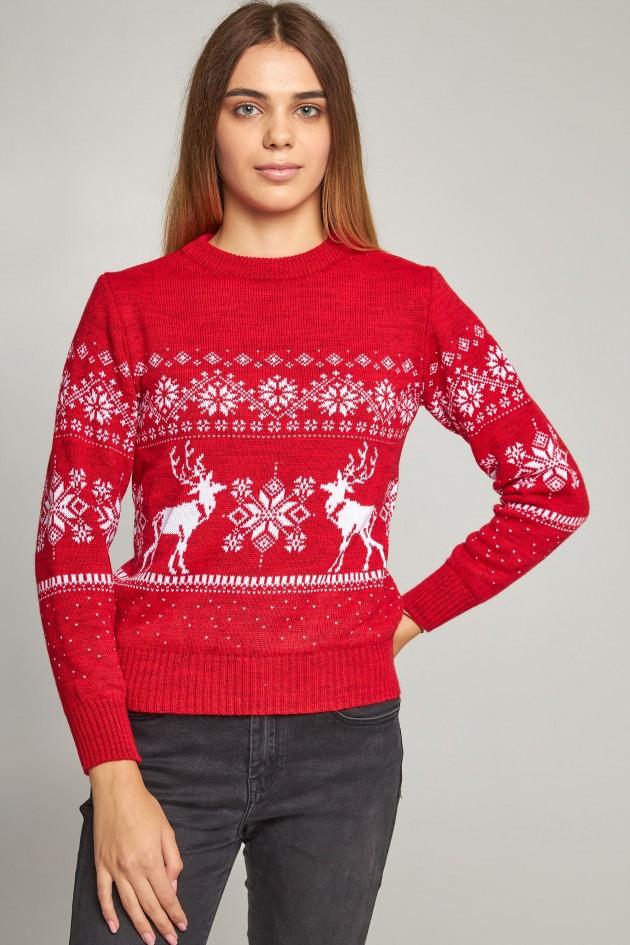Жіночий в'язаний светр Сніжинки з оленями червоний
