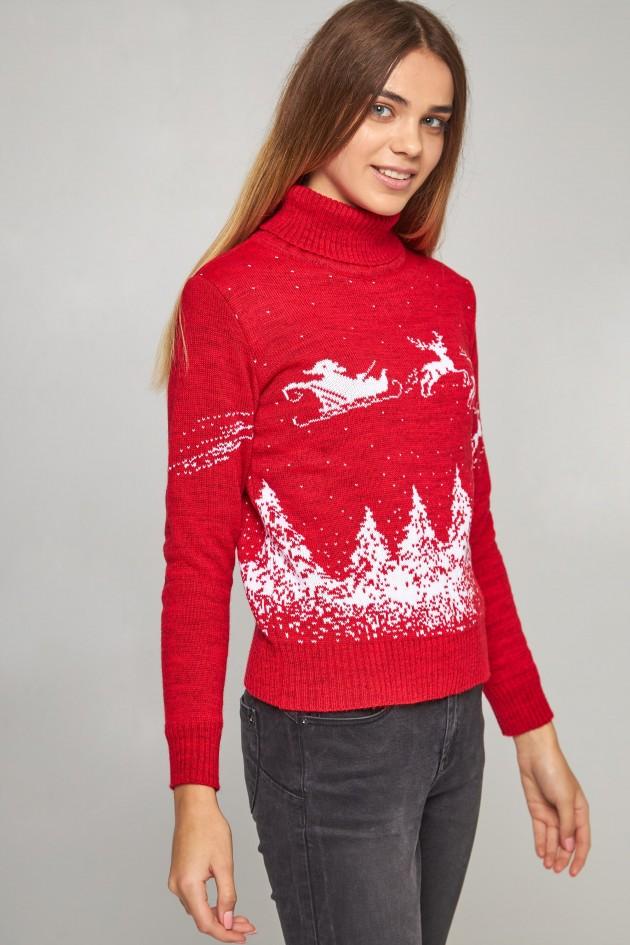 Жіночий в'язаний гольф Дід Мороз з оленями червоний