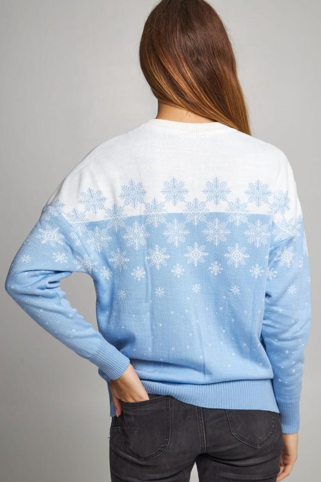 Жіночий в'язаний светр Сніжинки блакитний