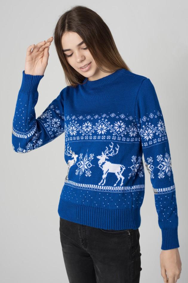 Жіночий в'язаний светр Дід Мороз з оленями синій 2