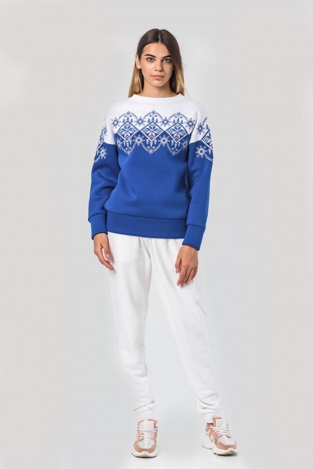 Новорічні светри для двох сніжинка сині