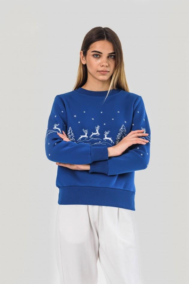 Жіночий новорічний світшот з оленями