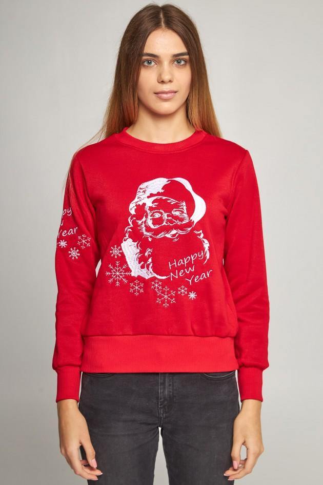 Жіночий вишитий світшот Дід Мороз червоний