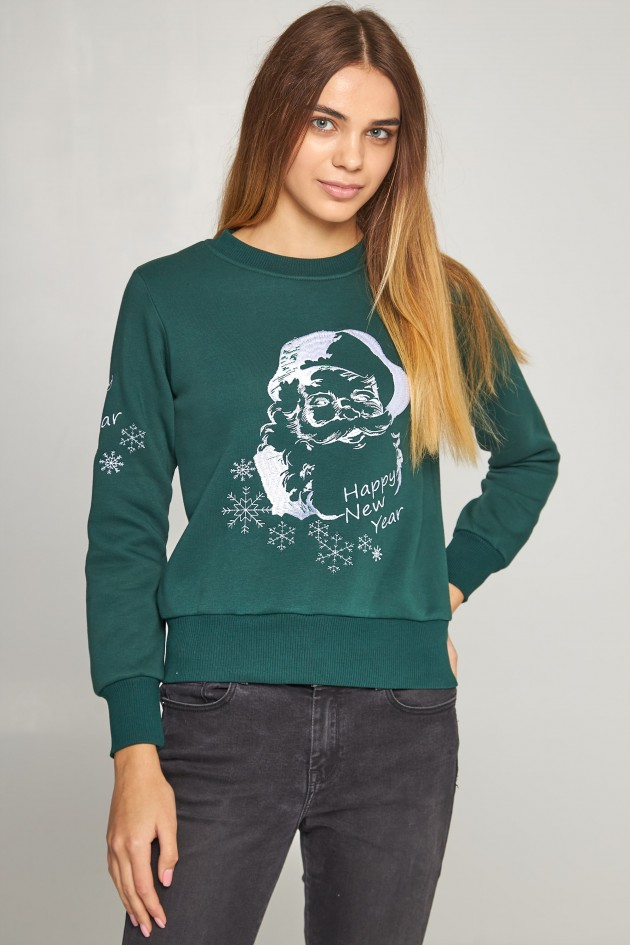Жіночий вишитий світшот Дід Мороз зелений