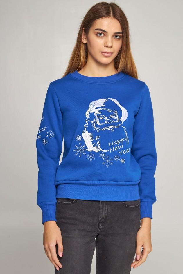 Жіночий вишитий світшот Дід Мороз синій
