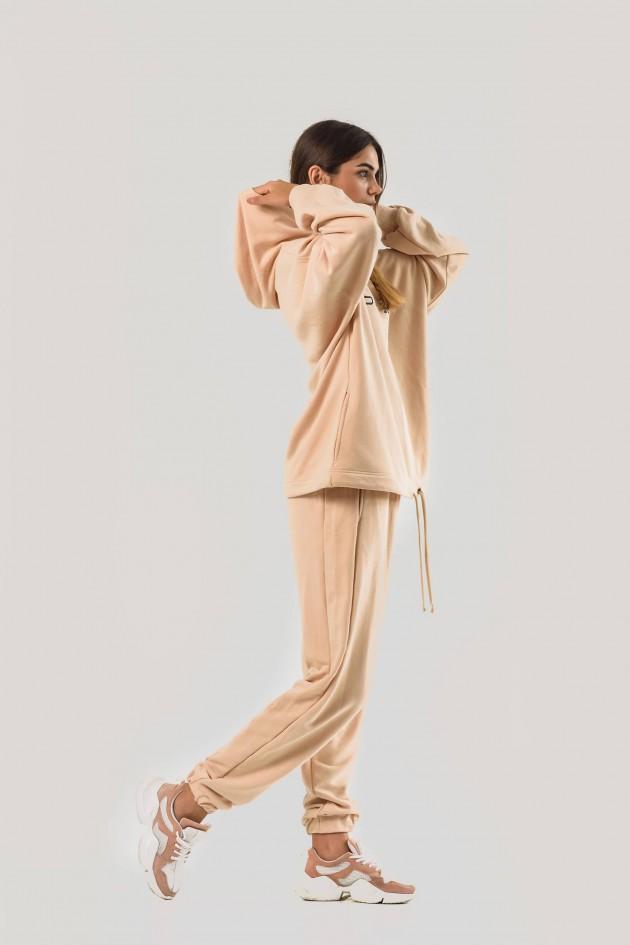 Жіночий костюм худи оверсайз бежевий