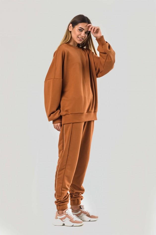 Жіночий костюм оверсайз коричневий