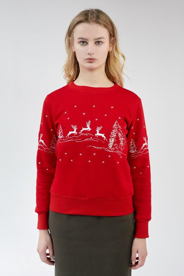 Різдвяний жіночий світшот Олені Red