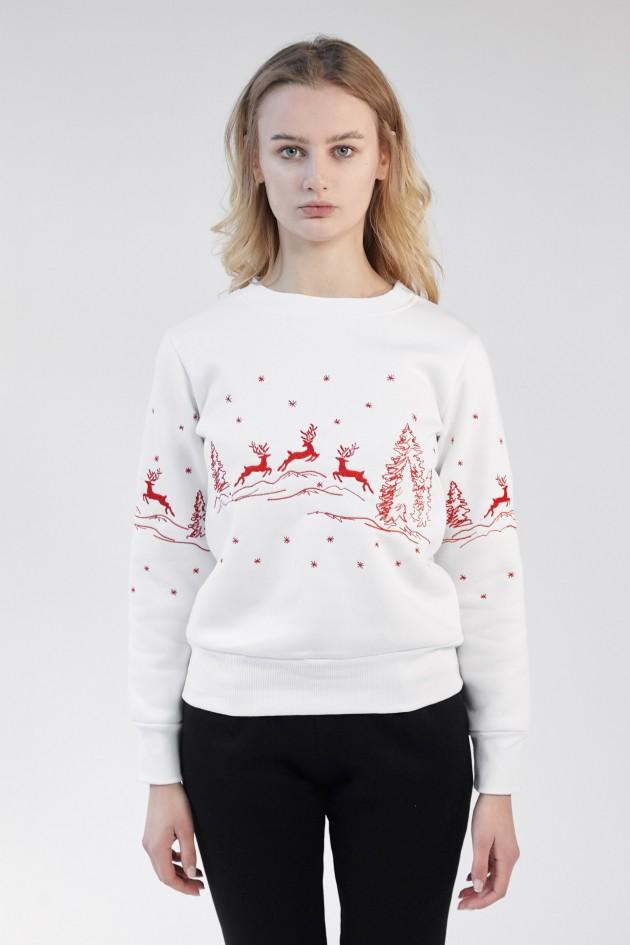 Різдвяний жіночий світшот з Оленями White
